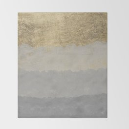 Geometrical ombre glacier gray gold watercolor Throw Blanket