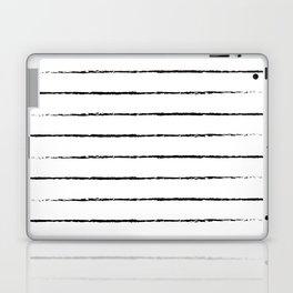 Minimal Simple White Background Black Lines Stripes Laptop & iPad Skin