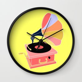 Multicolor Gramophone on Pale yellow Home Decor Room Furnishing Contemporary Wall Graphic Design  Wall Clock