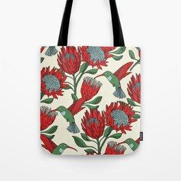 Protea with Hummingbird / Sunbird (Cream) Tote Bag