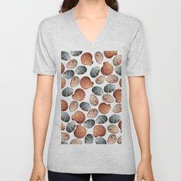 Seashells small - white background Unisex V-Neck