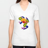 frog V-neck T-shirts featuring Frog by Aleksandra Mikolajczak