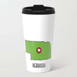 Nebraska State Heart Travel Mug