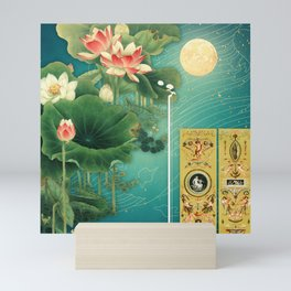 Chinese Lotus Full Moon Garden :: Fine Art Collage Mini Art Print