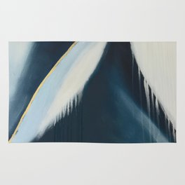 Daydream: a pretty, minimal, abstract, mixed-media piece in blue and gold by Alyssa Hamilton Art Rug