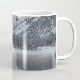 Sunset clouds over mountains at Lake Fusine, Italy Coffee Mug