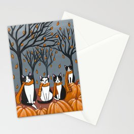Tuxedo Cats and Pumpkins Stationery Cards