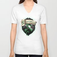 slytherin V-neck T-shirts featuring Slytherin Crest by Sharayah Mitchell