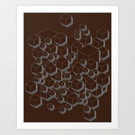 3D Futuristic Cubes VI Art Print