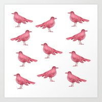birdy Art Prints featuring birdy by laura