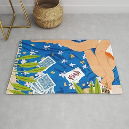 Playing Cards, Summer Games Vacation, Nature Bohemian Picnic Beach, Joker Illustration Rug