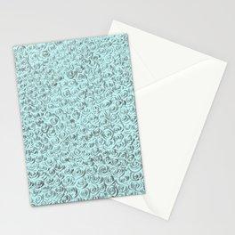Aqua and Gray Rose Flurry Stationery Cards