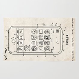 IPHONE US PATENT ART PRINT POSTER APPLE STEVE JOBS CELL SMART PHONE IOS SIRI GIFT Rug