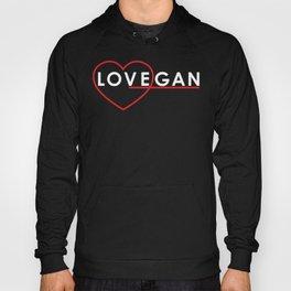 Lovegan (Love Vegan), on black Hoody