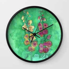 Hollyhock Foxglove Watercolor Honey & Berry on Green Wall Clock