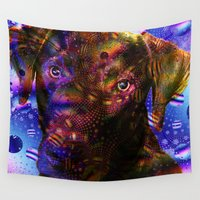 chocolate Wall Tapestries featuring Chocolate Lab by Roger Wedegis