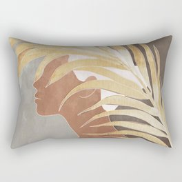 Woman with Golden Palm Leaf Rectangular Pillow
