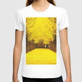 Gingko Biloba Autumn Leaves Landscape Painting by Jéanpaul Ferro T-shirt