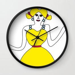The girl in yellow Wall Clock
