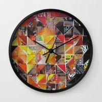 jack sparrow Wall Clocks featuring Jack Sparrow by Ruud van Koningsbrugge