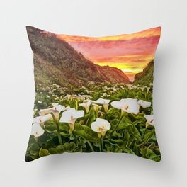 'Calla Lily Sunrise at Big Sur' Portrait Painting by Jeanpaul Ferro Throw Pillow
