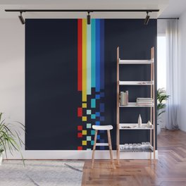 Classic 80s Video Game Retro Stripes Pixel Drops - Ayakazu Wall Mural