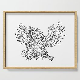 Mexican Eagle Fighting Rattlesnake Drawing Black and White Serving Tray