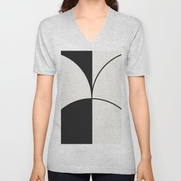 Diamond Series Round Solid Lines Charcoal on White Unisex V-Neck