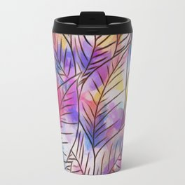 Leaves on Colorful Abstract Background Travel Mug