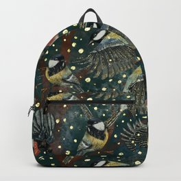 Winter Birds at Night pattern Backpack