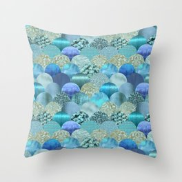 Blue Turquoise Glamour Fish Skin Scale Pattern Throw Pillow