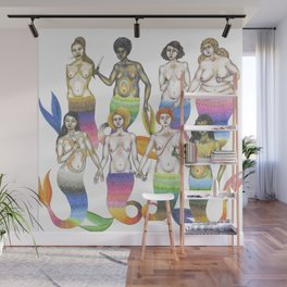 group of mermaids holding knives II Wall Mural