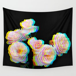 Pale Pink Roses on Black with Glitch Wall Tapestry