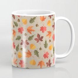 Autumn Leaves Pattern Beige Background Coffee Mug