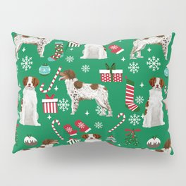 Brittany Spaniel christmas pattern dog breed presents stockings candy canes Pillow Sham