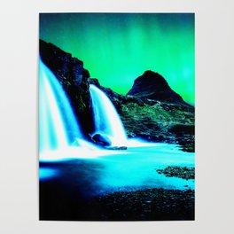 Aurora Borealis Waterfall Vibrant Poster