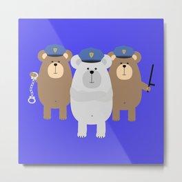Bears Police Officer Metal Print