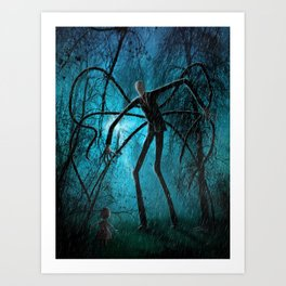 Slender Man and the Lost Soul Art Print