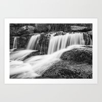 Mountain river flowing in the woods Art Print
