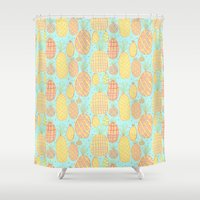 pineapples Shower Curtains featuring Pineapples by stephstilwell