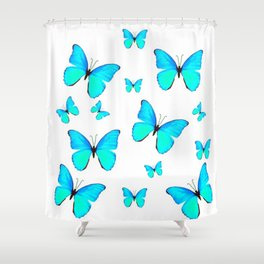 NEON BLUE BUTTERFLIES MIGRATION FROM  SOCIETY6 Shower Curtain