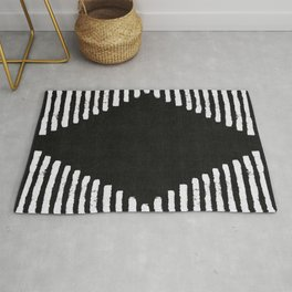 Diamond Stripe Geometric Block Print in Black and White Rug