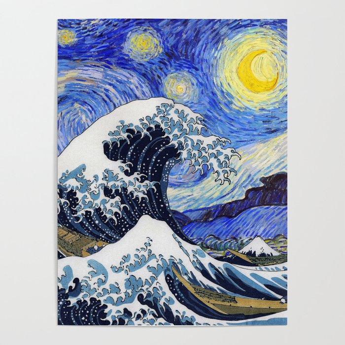 Hokusaithe Great Wave Off Kanagawa Van Goghstarry Night Poster By Dohshin