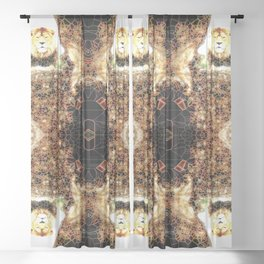Stained Glass Lion Pattern Sheer Curtain