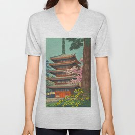 Asano Takeji Spring in Daigoji Temple Vintage Japanese Woodblock Print Detailed East Asian Art Unisex V-Neck