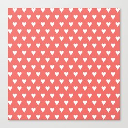 Coral White Hearts Pattern Canvas Print