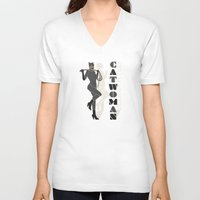 catwoman V-neck T-shirts featuring Catwoman by Lily's Factory