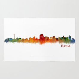 Rome city skyline HQ v02 Rug