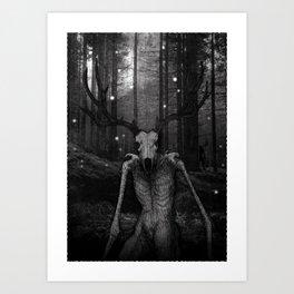 Wendigo Black and White Illustration Art Print