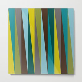 Slanted Stripes in Bold Blues, Greens, Golds Metal Print